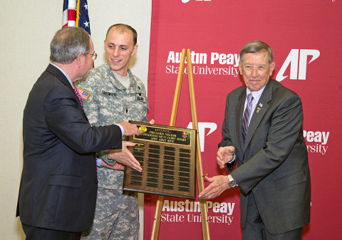 ROTC Cadet Nathan Brewer (center) was named the recipient of the 2013 Command Sgt. Maj. Walker Award during a breakfast ceremony May 2 at Austin Peay State University. Retired Command Sgt. Maj. Darol Walker (right, for whom the award is named) and local businessman Jack Turner (who created the award) also are shown. (Photo by Beth Liggett, APSU Public Relations and Marketing)