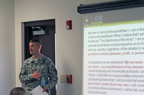 Maj. Jeremiah S. O'Connor, the rear detachment commander of the 101st Special Troops Battalion, 101st Sustainment Brigade, 101st Airborne Division (Air Assault), trains leaders in the battalion on how to recognize soldier who would commit sexual assault and how to handle situations where a sexual assault may have occurred June 5th, at Fort Campbell. He reiterated that there is zero tolerance for soldiers who would prey on others and leaders need to recognize them, and separate them from our ranks as quickly as possible. (U.S. Army photo by Sgt. Leejay Lockhart, 101st Sustainment Brigade Public Affairs)