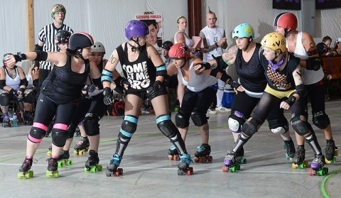 Clarksville Brawling Beauties roller derby bout at the Clarksville Speedway.