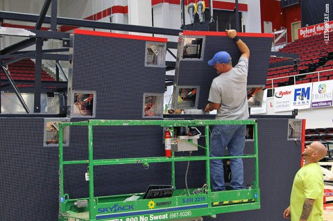 Workers installing new scoreboard in the Austin Peay State University Dunn Center. (Courtesy: APSU Sports Information)