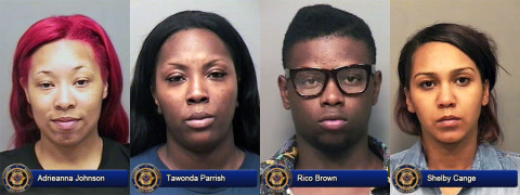 Adrieanna Johnson, Tawonda Parrish, Rico Brown and Shelby Cange arrested by Clarksville Police for shoplifting.