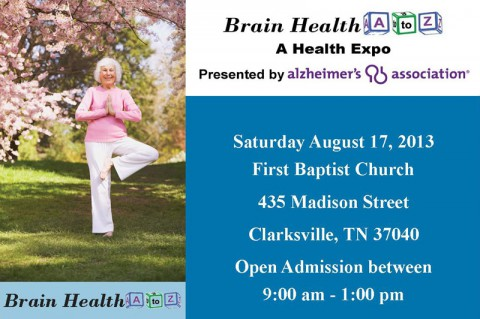 "Alzheimer's Association health expo ""Brain Health A to Z"" Saturday, August 17th at First Baptist Church"