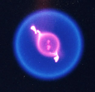 A color image of a burning fuel droplet.