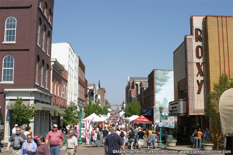 Downtown Clarksville during the Annual Rivers and Spires Festival