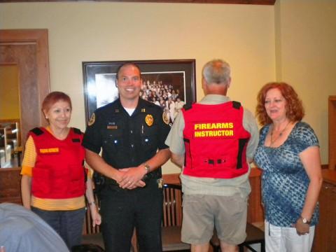 (L to R) Grace Linder, Capt. Rick Stalder, Irving Tillman and President Kaye Jones.