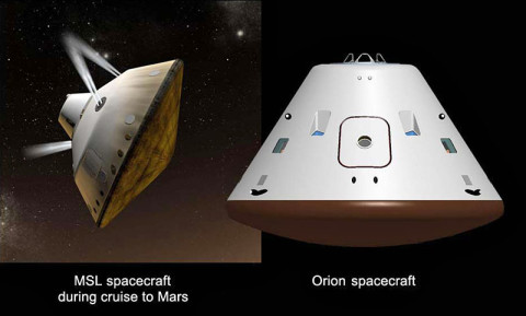 Cruise Vehicles (Artist Concept) - This set of artist's concepts shows NASA's Mars Science Laboratory cruise capsule and NASA's Orion spacecraft, which is being built now at NASA's Johnson Space Center and will one day send astronauts to Mars. (Image Credit: NASA/JPL-Caltech/JSC)