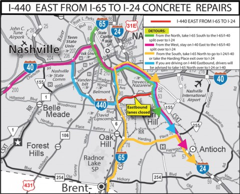 Section of I-440 to Close for 10 Weekends for Concrete Repairs