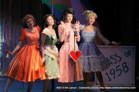 The Wonderettes at the Roxy Regional Theatre. From Left to Right, Ashley Harris (Missy), Heather Gault (Betty Jean), Taylor Gavin (Cindy Lou), and Elena Pascullo (Suzy).