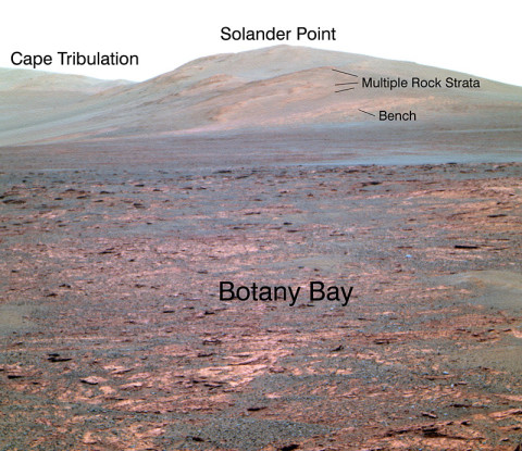 "NASA's Mars Exploration Rover Opportunity used its panoramic camera (Pancam) to acquire this view of ""Solander Point"" during the mission's 3,325th Martian day, or sol (June 1st, 2013). (Image credit: NASA/JPL-Caltech/Cornell Univ./Arizona State Univ.)"