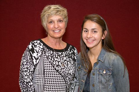 Mary Fisher (left), widow of Mickey Fisher, taught Alexis Eldridge, the recipient of the 2012-13 Mickey Fisher Memorial Scholarship. (Photo by Beth Liggett, APSU photographer)