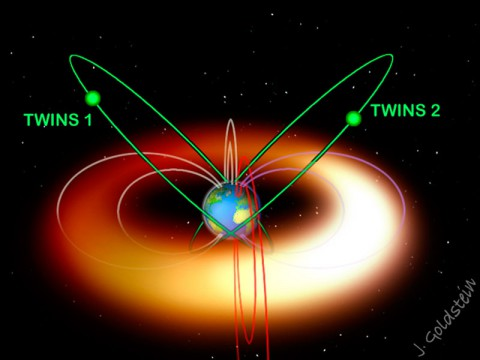 Since 2008, NASA's two TWINS spacecraft have been providing a sterescopic view of the ring current -- a hula hoop of charged particles that encircles Earth. (Credit: J. Goldstein/SWRI)