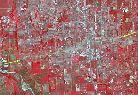 The Newcastle-Moore EF-5 tornado ripped through central Oklahoma on May 20, 2013, killing 24 people and leaving behind more than $2 billion in damage. (Image Credit: NASA/GSFC/METI/ERSDAC/JAROS, and U.S./Japan ASTER Science Team)