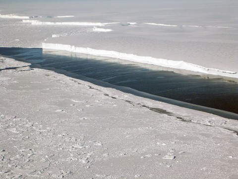 This photo shows the ice front of Venable Ice Shelf, West Antarctica, in October 2008. It is an example of a small-size ice shelf that is a large melt water producer. The image was taken onboard the Chilean Navy P3 aircraft during the NASA/Centro de Estudios Cientificos, Chile campaign of Fall 2008 in Antarctica. (Image credit: NASA/JPL-Caltech/UC Irvine)