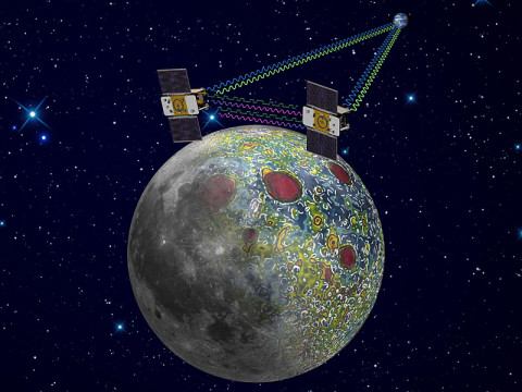 Using a precision formation-flying technique, the twin GRAIL spacecraft mapped the moon's gravity field, as depicted in this artist's rendering. (Image credit: NASA/JPL-Caltech)