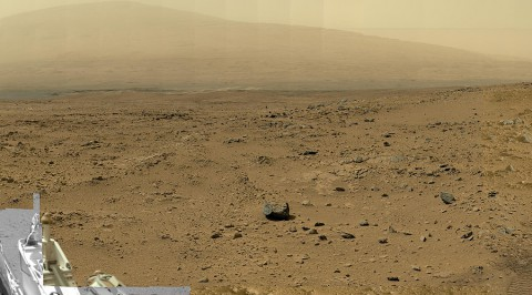 "This is a reduced version of panorama from NASA's Mars rover Curiosity with 1.3 billion pixels in the full-resolution version. It shows Curiosity at the ""Rocknest"" site where the rover scooped up samples of windblown dust and sand. Curiosity used three cameras to take the component images on several different days between October 5th and November 16th, 2012. (Image credit: NASA/JPL-Caltech/MSSS)"