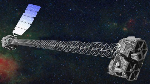 Artist's concept of NuSTAR in orbit. NuSTAR has a 33-foot (10-meter) mast that deploys after launch to separate the optics modules (right) from the detectors in the focal plane (left). (Image credit: NASA/JPL-Caltech)