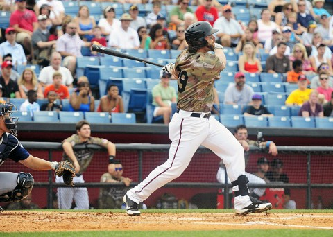 Nashville Sounds' Sean Halton home run scores three on Sunday. (Mike Strasinger - sportsnashville.net)