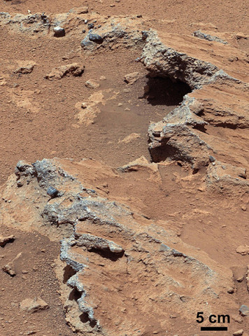 """NASA's Curiosity rover found evidence for an ancient, flowing stream on Mars at a few sites, including the rock outcrop pictured here, which the science team has named """"Hottah"""" after Hottah Lake in Canada's Northwest Territories.  (Image credit: NASA/JPL-Caltech/MSSS)"""
