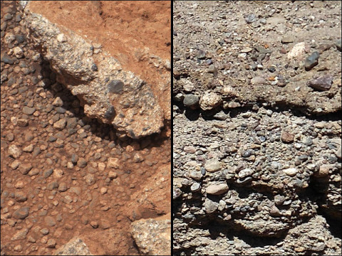 This set of images compares the Link outcrop of rocks on Mars (left) with similar rocks seen on Earth (right). (Image credit: NASA/JPL-Caltech/MSSS and PSI)