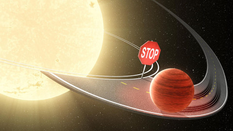 """Researchers using data from NASA's Kepler space telescope have shown that migrating planets stop their inward journey before reaching their stars, as illustrated in this artist's concept. Jupiter-like planets, called """"hot Jupiters"""" are known to migrate from their star's frigid outer reaches in toward the star and its blistering heat. Dozens of hot Jupiters have been discovered orbiting closely to their stars, whipping around in just days. (Image credit: NASA/JPL-Caltech)"""