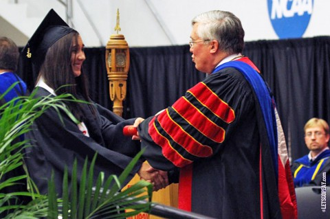 Jocelyn Murdoch, seen here receiving her degree in May, was one of 19 APSU student-athletes to receive the OVC Academic Medal of Honor. (Courtesy: Brittney Sparn/APSU Sports Information)