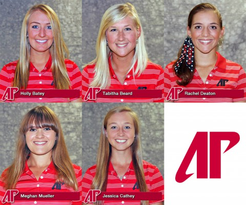 Austin Peay has Five Lady Govs Golfers chosen All-American Scholars. (L to R) Holly Batey, Tabitha Beard, Rachel Deaton, Meghan Mueller and Jessica Cathey.