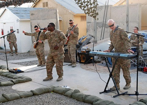 The 101st Airborne Division (Air Assault) Band 'Ambush' performs at Forward Operating Base Lightning. (U.S. Army National Guard photo by Staff Sgt. Jacqueline Fitzgerald)