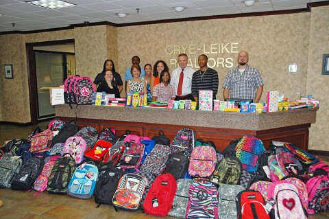 150 Backpacks Stuffed With New School Supplies For Youth Villages were collected by Crye-Leike Realtors.
