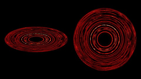 Debris disks around stars naturally form complex structures without the presence of a planet. This image shows the dust density and the growth of structure in a simulated disk, which extends about 100 times farther from its star than Earth's orbit around the sun. At left, the disk is seen from 24-degree angle; at right, it's face-on. Lighter colors show greater dust concentrations. (Image credit: NASA Goddard/JPL-Caltech)