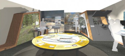 Artist concept of the new Exhibits in the Fort Donelson Visitor Center. (NPC)