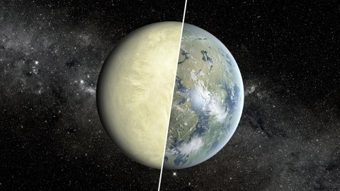 This artist's concept shows a Super Venus planet on the left, and a Super Earth on the right. Researchers use a concept known as the habitable zone to distinguish between these two types of planets, which exist beyond our solar system. (Image credit: NASA/JPL-Caltech/Ames)