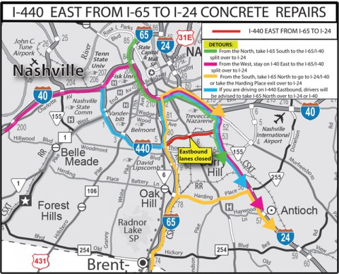 I-440 East Concrete Repairs Detour Map