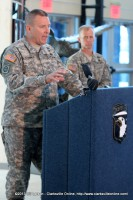 Brig. Gen. Mark Stammer addresses the media as Col. David L. Dellinger looks on