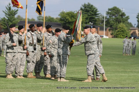 Brig. Gen. Mark Stammer, the acting commander of Fort Campbell, KY, while the 101st Airborne Division is deployed to Afghanistan passes command of the 2nd Brigade Combat Team from Col. Walrath to their new Commander Col. Pete Benchoff