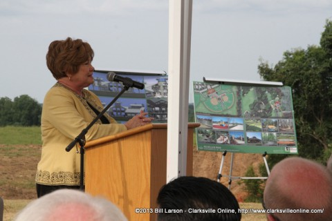Montgomery County Mayor Carolyn Bowers making her remarks at the Richellen Park groundbreaking