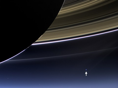 In this rare image taken on July 19th, 2013, the wide-angle camera on NASA's Cassini spacecraft has captured Saturn's rings and Earth in the same frame. (Image Credit: NASA/JPL-Caltech/Space Science Institute)