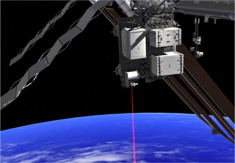 This artist's concept shows how the Optical Payload for Lasercomm Science (OPALS) laser will beam data to Earth from the International Space Station. (Credit: NASA.)