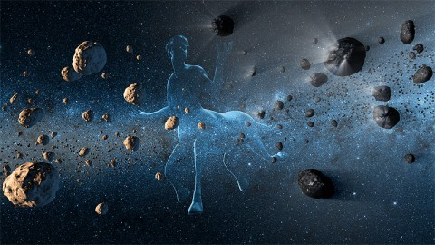 New observations from NASA's NEOWISE project reveal the hidden nature of centaurs, objects in our solar system that have confounded astronomers for resembling both asteroids and comets. The centaurs, which orbit between Jupiter and Neptune, were named after the mythical half-horse, half-human creatures called centaurs due to their dual nature. This artist's concept shows a centaur creature together with asteroids on the left and comets at right. (Image credit: NASA/JPL-Caltech)