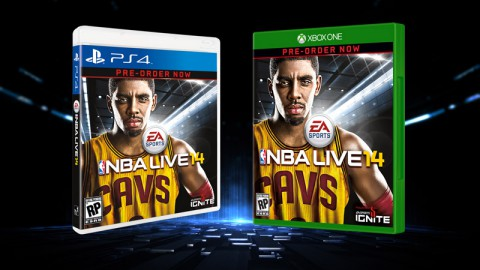 NBA LIVE 14 PS4 and Xbox One box art featuring Kyrie Irving.