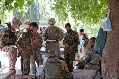 U.S. Army Soldiers from Security Forces Advisory and Assistance Team Archangel, 1st Brigade Combat Team, 101st Airborne Division, confer with Afghan National Army soldiers on the outskirts of the village of Takiya Khana, Bati Kot district, Nangarhar Province, Afghanistan, June 15, 2013. (U.S. Army photo by Sgt. Margaret Taylor, 129th Mobile Public Affairs Detachment)