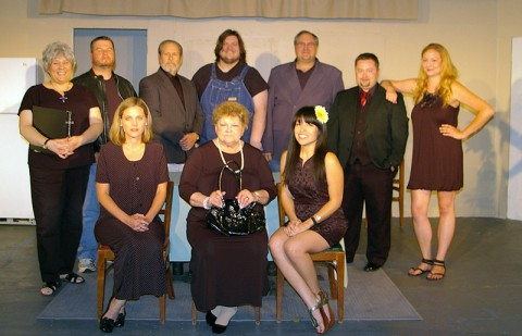 "The cast of ""Southern Fried Funeral"". Front Row (l to r): Tracey Davidson, Linda Ellis Cunningham and Ila Mae Avitia.  Back Row:  Jan Y. Dial, Bailey Thompson, Jeff Wellington, Zack McElroy, Menzo Faassen, Vernon Greene and Nicole June.  Not pictured, Amanda Jennison-Sousa."