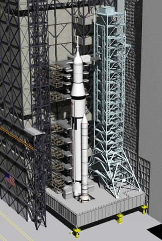 A conceptual look at the future of the VAB configured for processing the Space Launch System heavy-lift rocket. (Image Credit: NASA/Boeing)