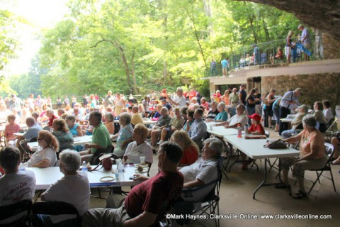 The crowd listening to the Cumberland Wind Jazz Project at Cooling at the Cave.