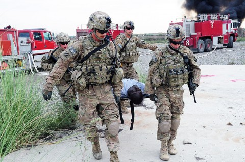 U.S. Soldiers with 2nd platoon, Whiskey Company, 2nd Battalion, 506th Infantry Regiment, attached to the 4th Brigade Special Troops Battalion, transport a simulated casualty to the casualty collection point during a mass casualty exercise at Forward Operating Base Salerno, Khowst province, Afghanistan, Aug. 6, 2013. (U.S. Army photo by Staff Sgt. Todd A. Christopherson/Released)
