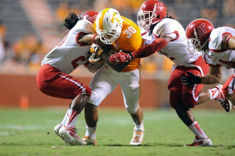 Tennessee Volunteers running back Alden Hill (30) runs the ball against the Austin Peay Governors at Neyland Stadium. ( Randy Sartin-USA TODAY Sports)