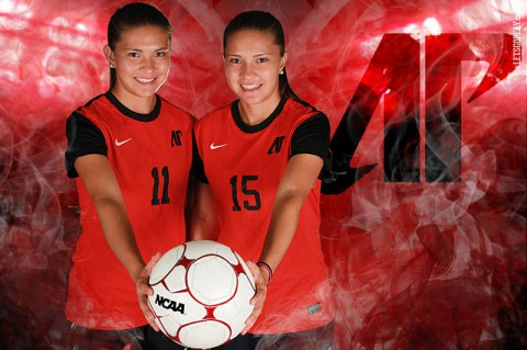 Austin Peay Women Soccer's Natalia Ariza (l) and Tatiana Ariza (r). (Brittney Sparn - APSU Sports Information)