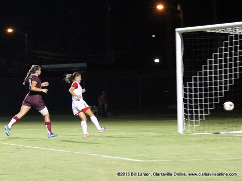 APSU Women's Soccer Tatiana Ariza scoring one of her two goals against Arkansas-Little Rock Friday night.