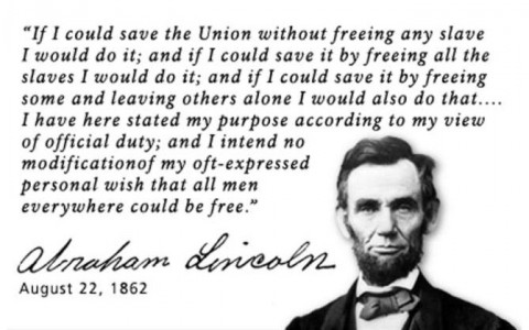 Abraham Lincoln statement on slavery.