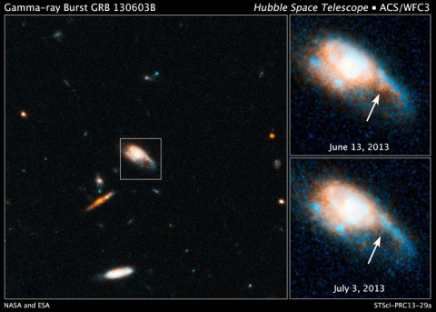 These Hubble images show the fireball afterglow of Gamma-ray Burst 130603B.