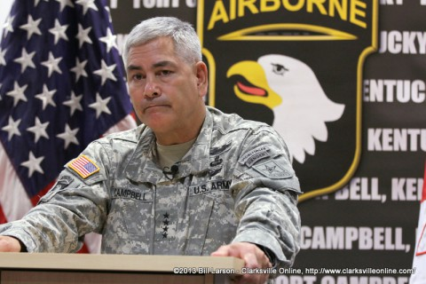 General John F. Campbell frowns as he talks about how the lack of a defense budget impacts Army planning during a press conference at Fort Campbell on Thursday August 2nd 2013